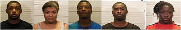 Daryl Jones, 18, of Farview Heights, Kaityln Fultz, 18, and Traseana Parks, 17, of Swansea, Deontre Samuels, 20, of O'Fallon, and Shay Bennett, 24, of East St. Louis are charged with robbery.