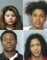 Five teenagers, including (clockwise, from top left) Jackeline Perez (15, Milford); Junia McDonald (14, Milford); Phillip Brewer (17, Bridgeville) and Rondaiges Harper (17, Bridgeville) were arrested Wednesday for allegedly abducting an 89-year-old Lincoln woman. Not pictured is Deniaya E. Smith (15, Bridgeville).