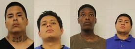 Adults arrested include, left to right: Mario Elvira, Kevin Ramirez, Kevar Preston and Jean Salvatierra