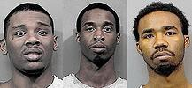 James Najee, 22, of Sauk Village, Ill., Latrell McGee, 21, of Merrillville and Devon Brown