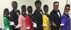 Momoiro Clover Z and doo-wop group Rats & Star in blackface makeup and minstrel-style costumes