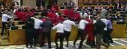 South African Parliament brawl