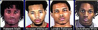 hakeem Malik, Nicquan Midgyett, Londro Patterson, DeAnthony Wiley are charged in the murder at She's A Pistol gun store.
