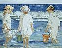 Shell Collecting - Newport Beach - by Sally Swatland